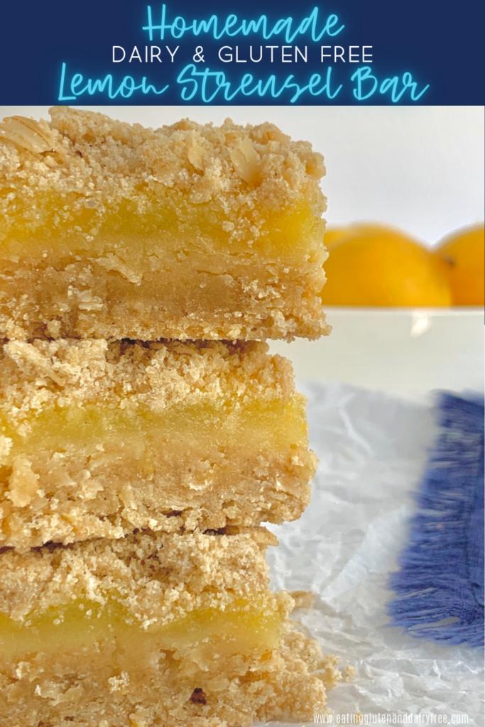A stack of lemon streusel bars.