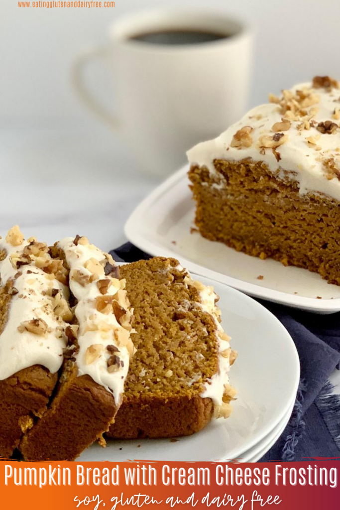 3 slices of pumpkin bread with cream cheese frosting and chopped nuts.