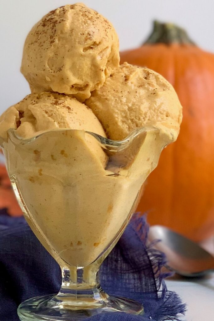 an ice cream bowl with 3 scoops of pumpkin ice cream