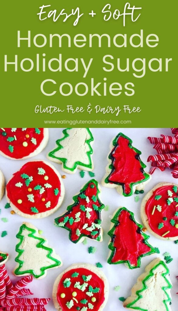 Sugar cookies with red icing and gel outlines on tree and circle shapes.