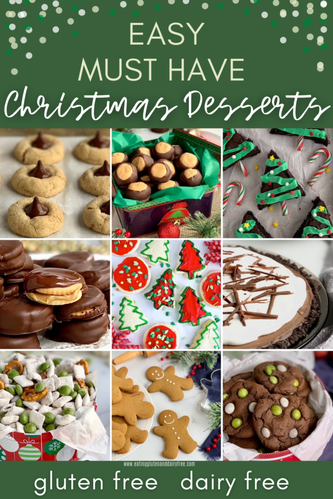 9 different Christmas desserts arranged on a photo grid.