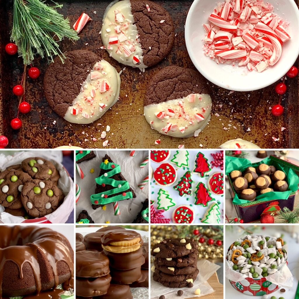 A collection of Christmas cookies, cake, and treats.