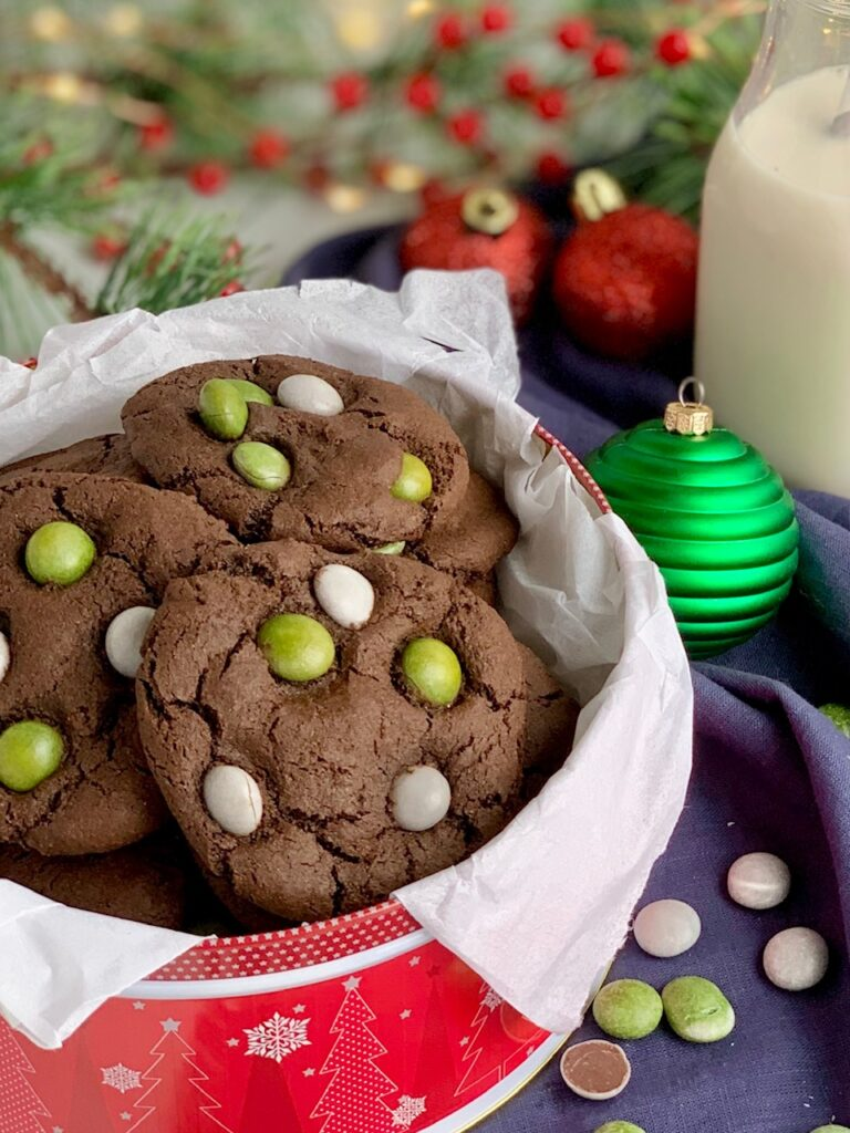 Chocolate cookies with No Whey Foods Peppermint No No's on top.