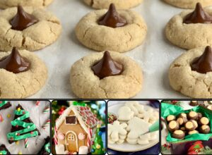 A collage of Christmas cookies, Gingerbread house, and icing sugar cookies.