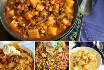 A collage of soups in one photos.