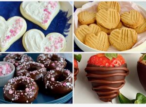 4 different Valentine's Day recipes including chocolate covered strawberries, double chocolate donuts with ganache frosting and white and pink sprinkles, a plateof heart shaped peanut butter cookies, and lastly a plate of heart shaped sugar cookies with with white frosting and pink and white sprinkles on them. a
