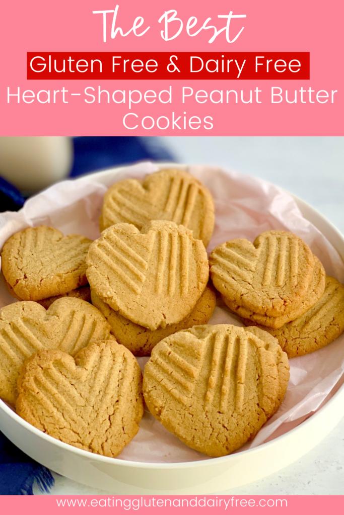 A platter full of heart-shaped peanut butter cookies.