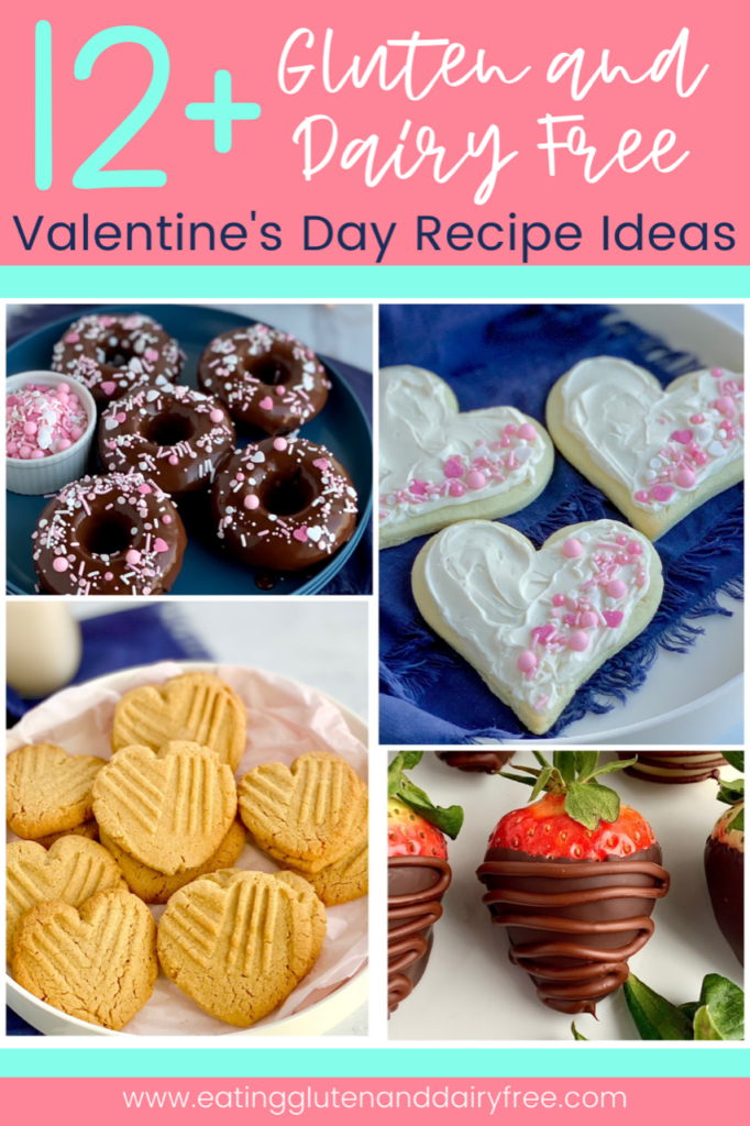 A collage of 4 different Valentine recipes-- chocolate donuts with a chocolate ganahce frosting and pink and white sprinkles on top. Also peanut butter cookies in teh shape of a heart with the classic criss cross fork marks. A large red strawberry dipped in melted chocolate with a another layer of chocolate drizzle over it. Lastly 3 heart shaped sugar cookies with white frosting and topped with white and pink sprinkles.