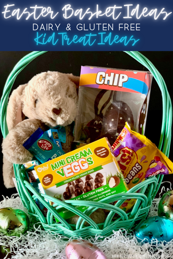 An aqua colored basket loaded with many of the suggestions in this post next to a large stuffed rabbit.