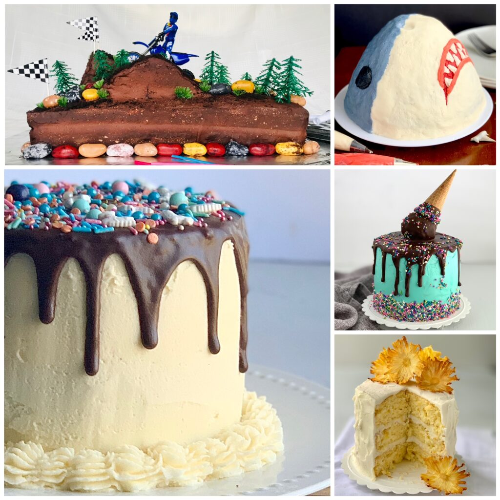 A collage of 5 cakes described in an earlier section of this post. The first cake is of a motocross driver. The next is a large shark cake. Below that is an aqua iced cake with an upside down ice cream cone. And below that is a pineapple layered cake with the center cut out and large fried pineapple pieces on top. To the left of that is an iced buttercream cake with chocolate ganache running down the sides and sprinkles on top.