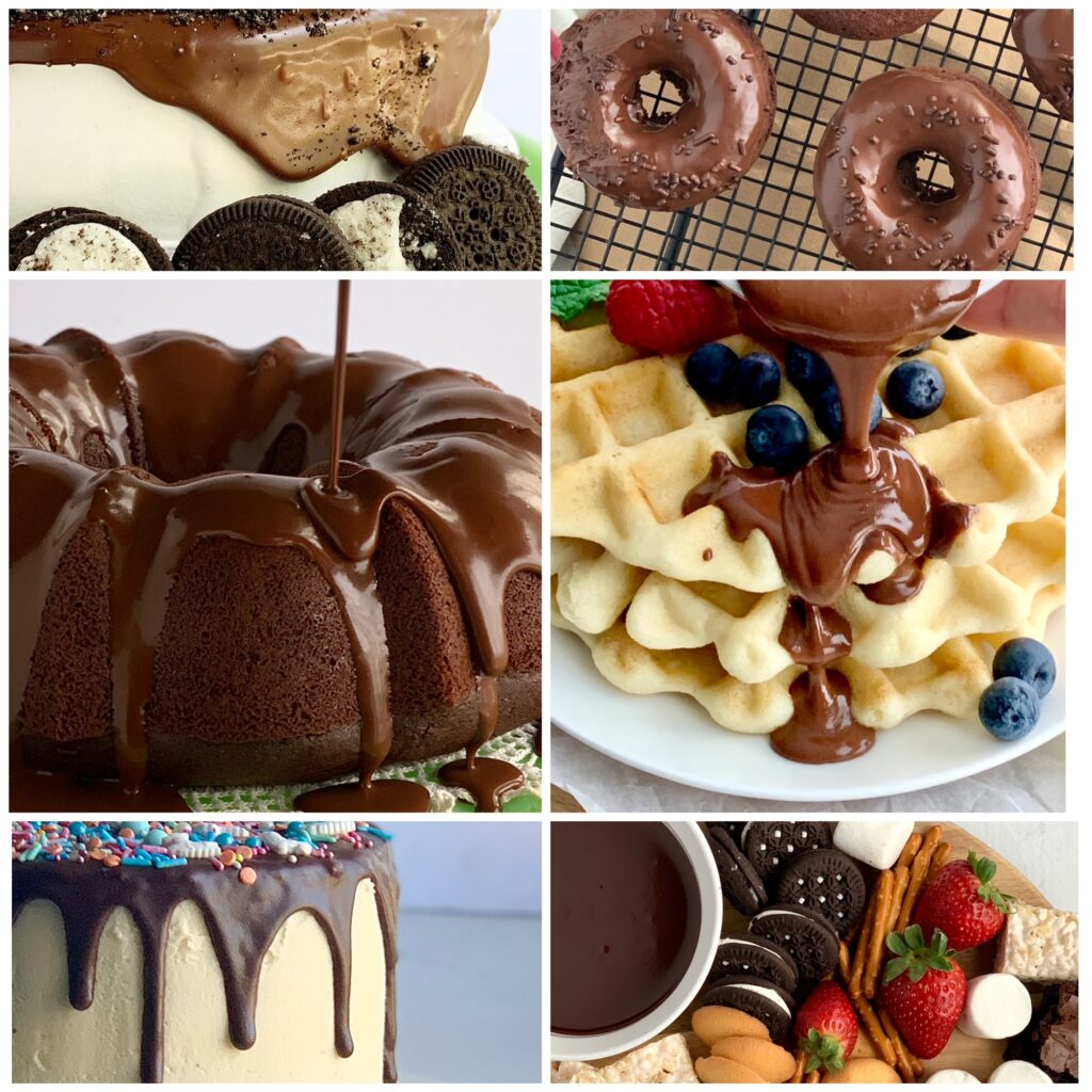 A collage of several different foods using this ganache recipe on top such as a chocolate bundt cake and ganache being poured onto waffles. Also a cake with chocolate ganache dripping down the sides and a dessert board filled with various treats like oreo sandwich cookies, vanilla wafers, and marshmallows next to a bowl of ganache as dipping sauce.
