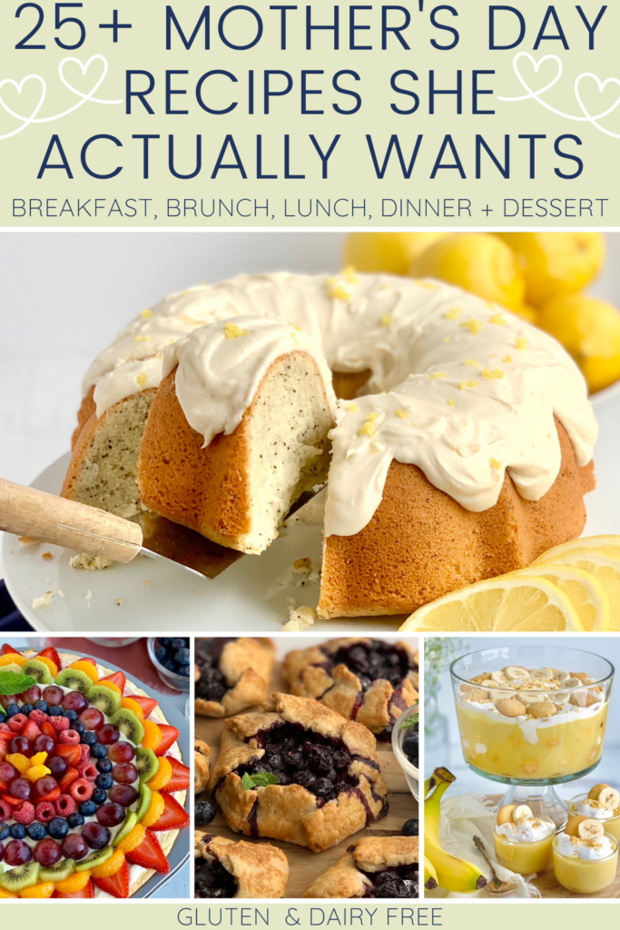 A collage of 4 different featured recipes in this round up-- a lemon bundt cake, fruit pizza, mini blueberry galettes, and a trifle of banana pudding.