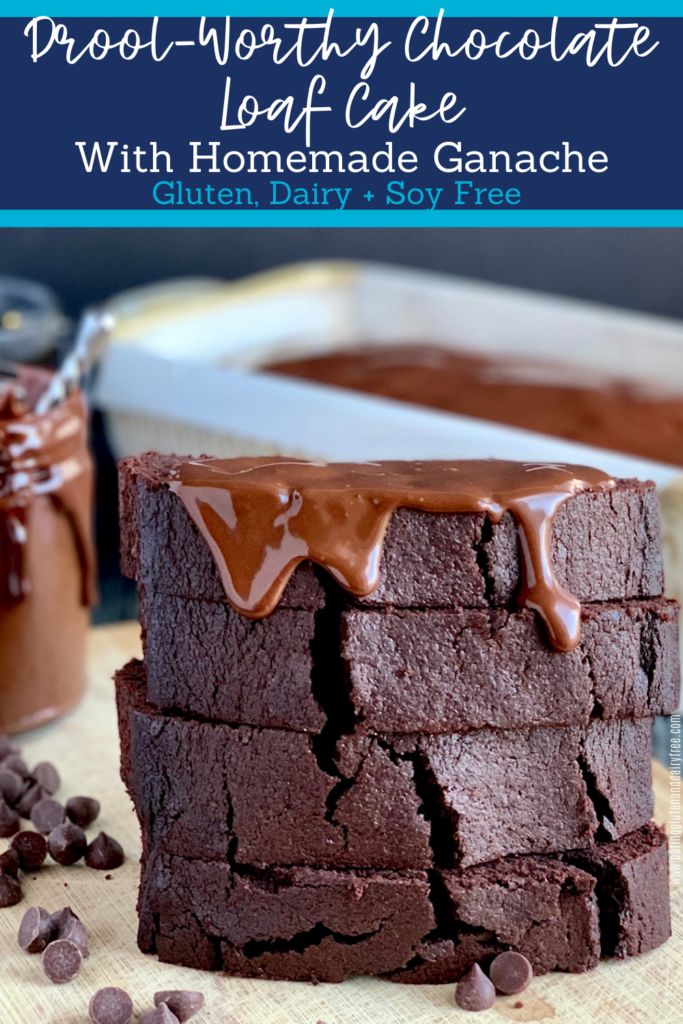 A stack of 4 slices of moist looking chocolate loaf slices with a dollop of chocolate ganache frosting dripping down from the top slice.