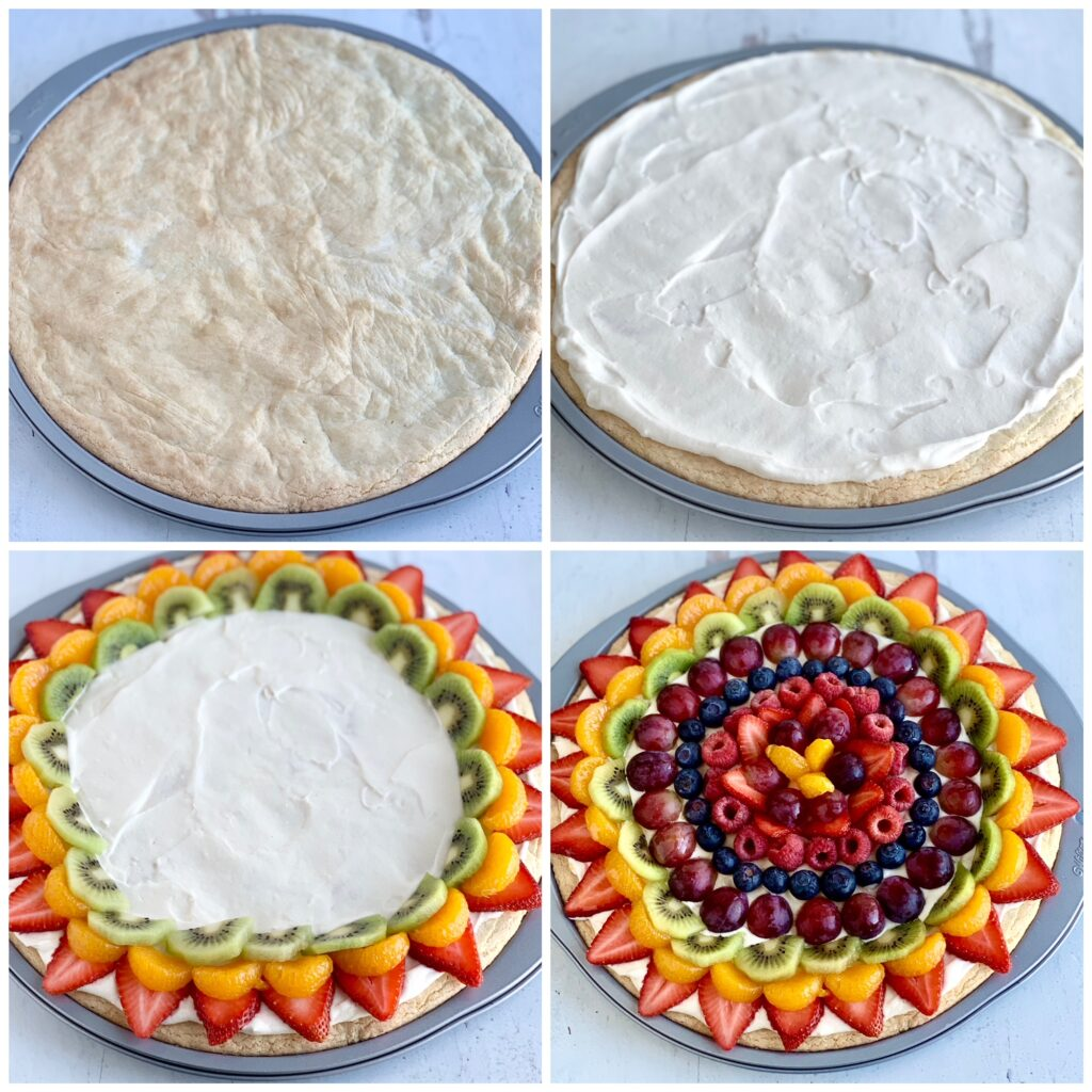 A collage of 4 pictures. The first picture shows a pizza pan with a baked sugar cookie in it. The second picture shows the cookie with a white cream cheese spread all over it. The third picture has added sliced strawberries, mandarin oranges, and sliced kiwi around the outside edge of the Fruit Pizza. The last picture is the completed Fruit Pizza with several layers of sliced fruit.