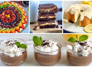 a collage of 4 different recipes. The first is a round fruit pizza then 3 stacked chocolate peanut butter layer brownies. Next is a lemon poppy seed bundt cake with cream cheese frosting on top. The last picture is of 3 mini dessert glasses filled with chocolate pudding, cocowhip, oreo like cookie crumbs and a mint leave.