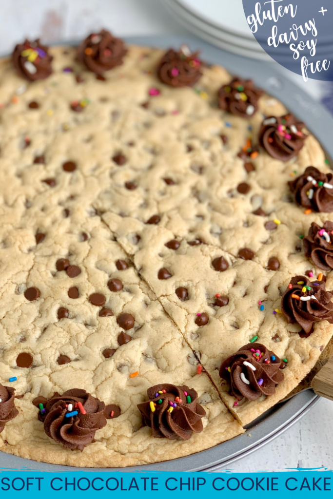 A giant chocolate chip cookie on a pizza pan with chocolate frosting swirls around the outside of the cookie. And colorful sprinkles are on top of the frosting.