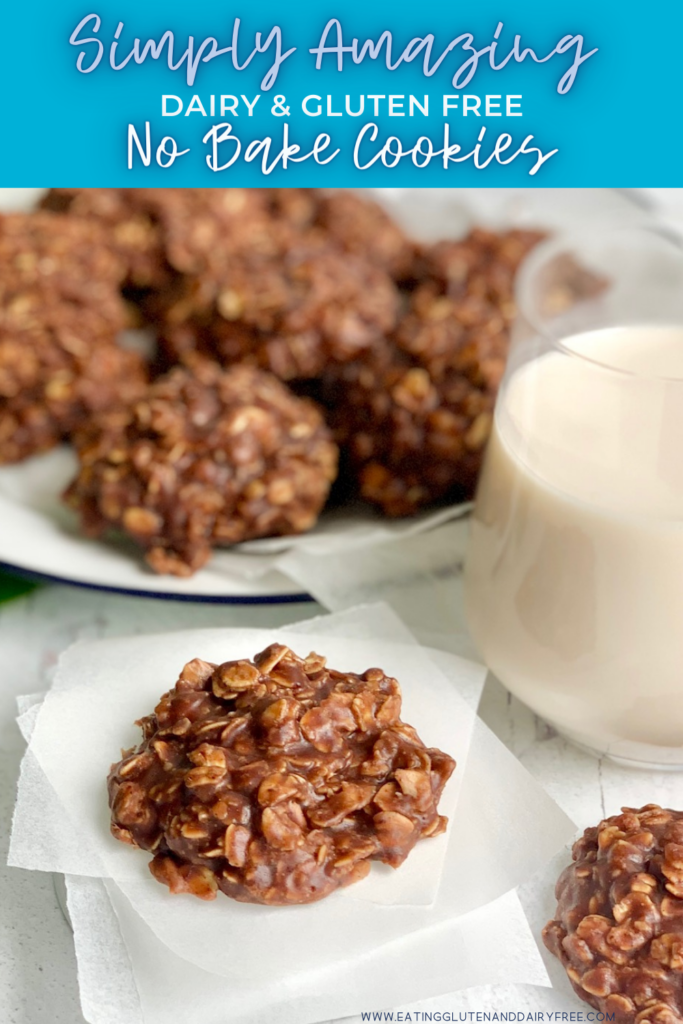 A close up of a No Bake Cookie with chocolate and peanut butter over oats next to a glass of milk.