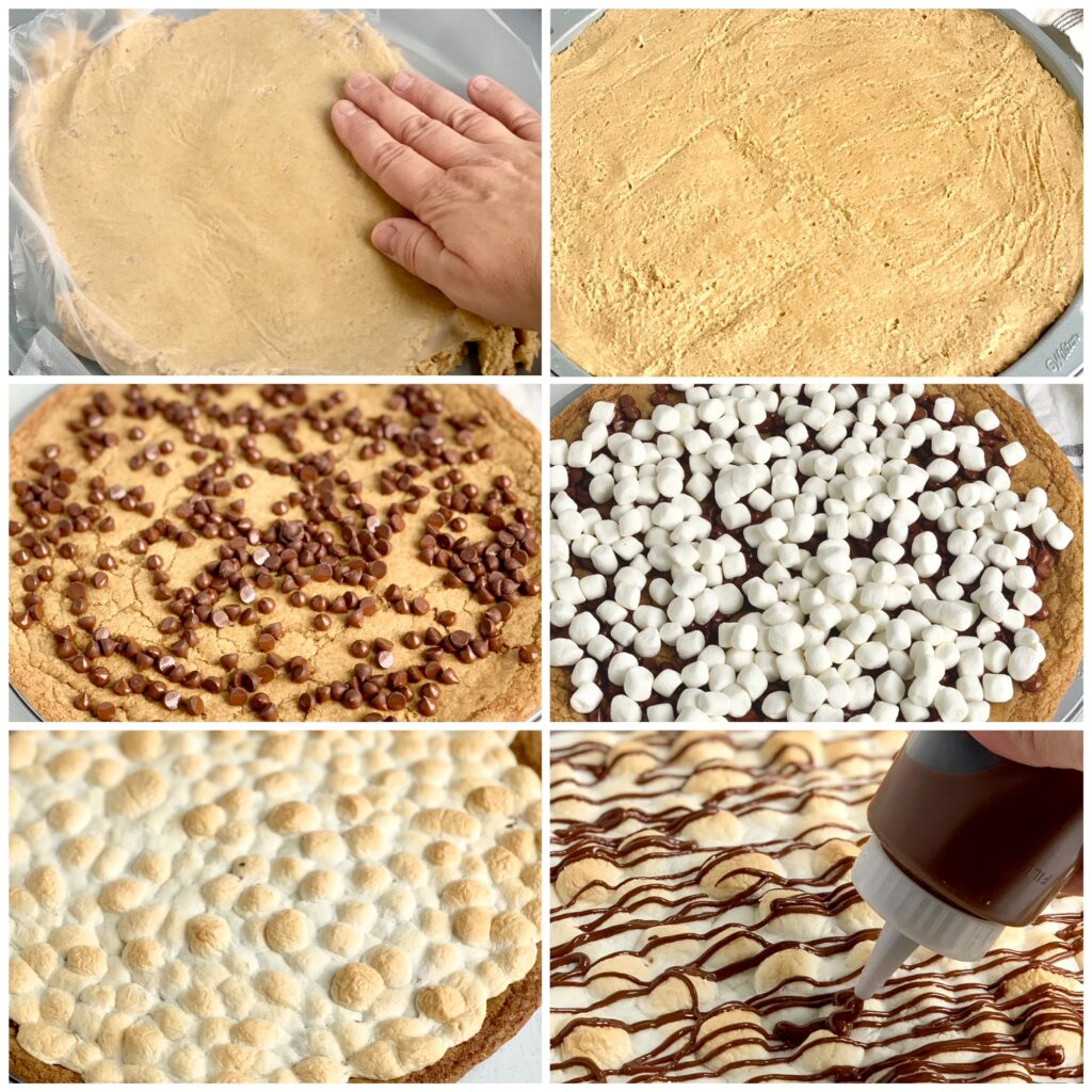 A collage of 6 different pictures. the first is of the graham cracker dough with nonstick wrap over it being pushed into all areas of the pan. The second is of the pan entirely covered in dough. Next the crust has been back and chocolate ships are on top. Then mini marshmallows have been added to the pizza. Fifth, the pizza is out of the oven and mini marshmallows are melted and a golden brown color. Lastly, a mini squeeze bottle is adding melted chocolate across the top of the pizza in a zig zag motion.