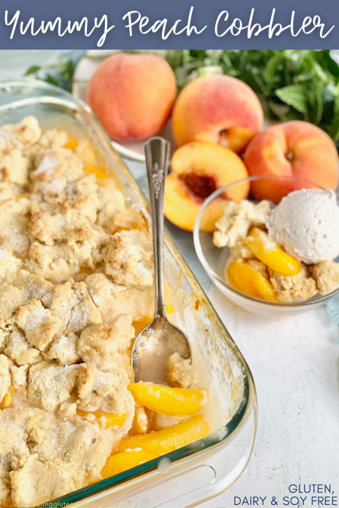 A 9x13-inch baking dish filled with a thick sweet peach mixture and topped with a biscuit-like golden brown dough. With sprinkles of sugar and a dessert nearby with cobbler in it and a scoop of ice cream.