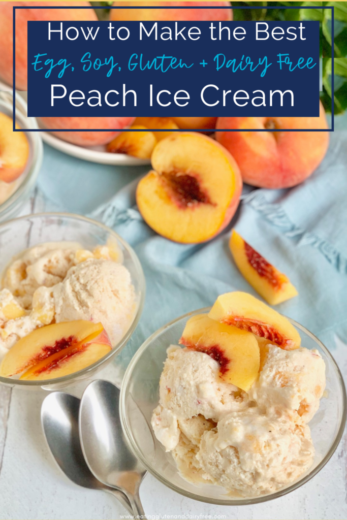 two glass bowl filled with peach ice cream next two several fresh peaches
