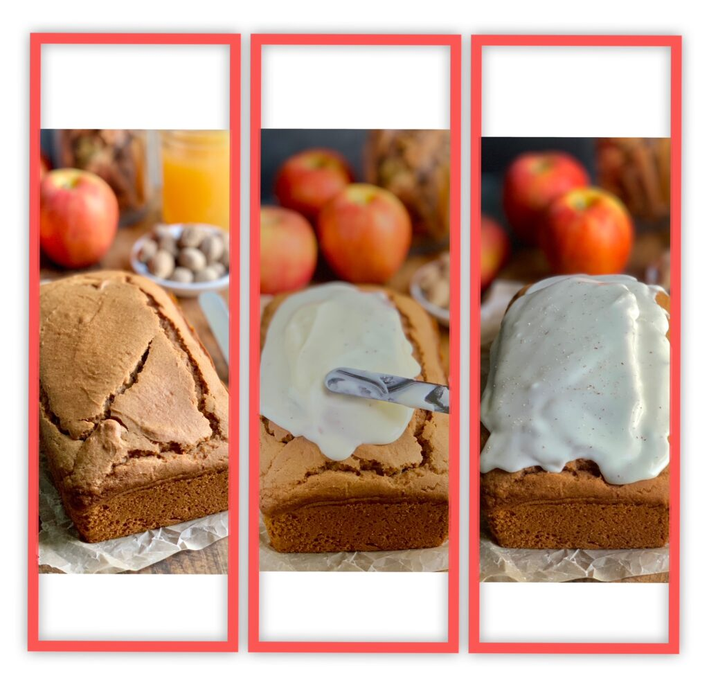 A collage of 3 pictures. The first is a loaf of apple spice loaf bread, the second is the loaf of bread with an angled spatula icing the loaf with a thick white glaze, and the last picture is of the loaf glazed in a delicious looking frosting.